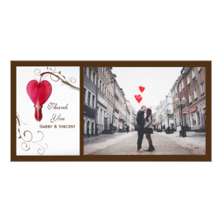 Red Bleeding Hearts Wedding Thank You Card