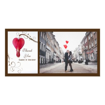 Wedding Themed Red Bleeding Hearts Wedding Thank You Card