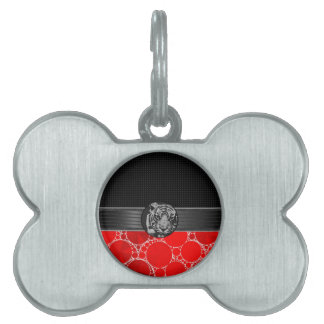 Red Bling Black Tiger Pet Tag