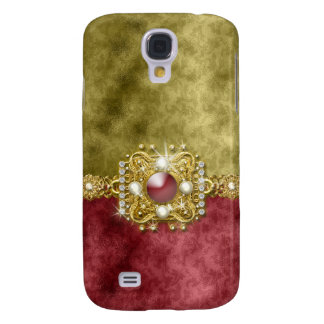 Red bling gems diamonds gold galaxy s4 cover
