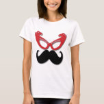 red bling glasses with mustache T-Shirt
