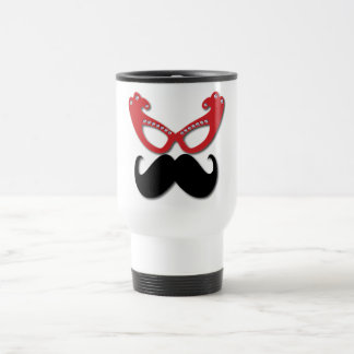 red bling glasses with mustache travel mug