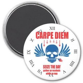 Red Bliue Vintage Retro Carpe Diem. Seize the day Magnet
