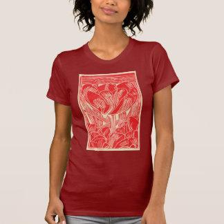 Red Blockprint Tulip Ladies Shirt