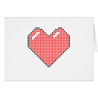 Red Blocky Heart Card