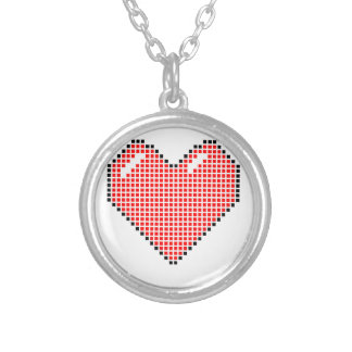 Red Blocky Heart Round Pendant Necklace