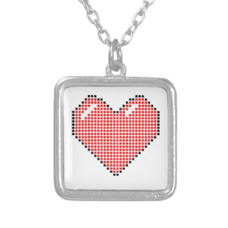 Red Blocky Heart Square Pendant Necklace