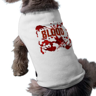 RED Blood Halloween Print Doggie T Shirt
