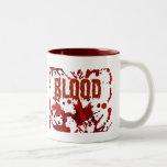 RED Blood Halloween Print Two-Tone Coffee Mug