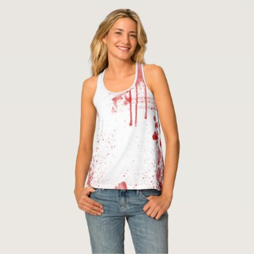 Halloween Themed Red Bloody Halloween Costume Fitted Tank Top