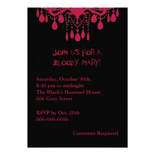 Red Bloody Mary Halloween Invitation