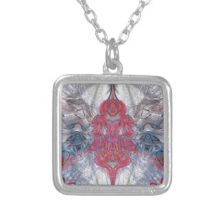 red bloom with gray silver plated necklace