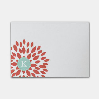 Red Blooming Blossom with Teal Monogram Post-it Notes