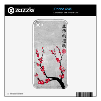 Red blossom delight iPhone 4 skin