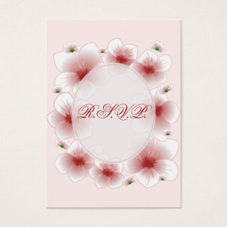 Red Blossom Flowers Romantic RSVP Minicard Business Card
