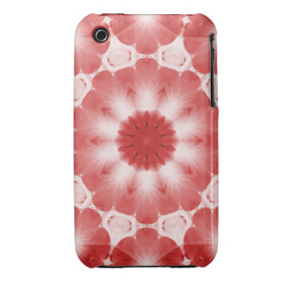 Red Blossom Kaleidoscoped iPhone 3 Case-Mate Cases