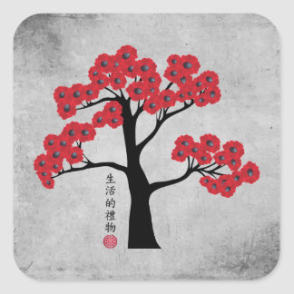 "Red blossom tree ""Gift of life"" Square Sticker"