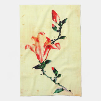 Red Blossom with Buds 1840 Hand Towel