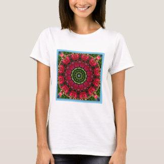 Red Blossoms Nature, Flower-Mandala T-Shirt