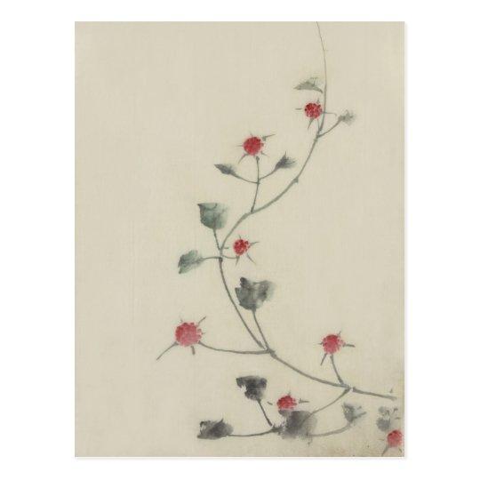 Red Blossoms on Vine Hokusai Japanese Fine Art Postcard