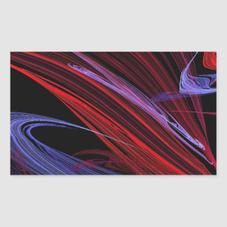 Red Blue Abstract Fractal Rectangle Sticker