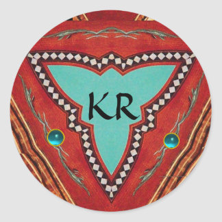 RED BLUE ABSTRACT GEOMETRIC TRIANGLE MONOGRAM CLASSIC ROUND STICKER