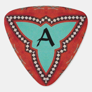 RED BLUE ABSTRACT GEOMETRIC TRIANGLE MONOGRAM GUITAR PICK
