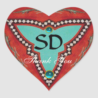 RED BLUE ABSTRACT GEOMETRIC TRIANGLE MONOGRAM HEART STICKER
