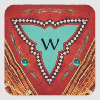RED BLUE ABSTRACT GEOMETRIC TRIANGLE MONOGRAM SQUARE STICKER