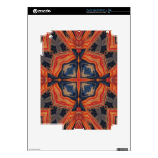 Red & Blue Abstract Pattern Decals For iPad 2