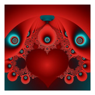 red blue abstract wall art print