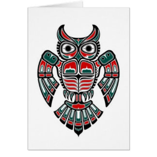 Red Blue and Black Haida Spirit Owl Card