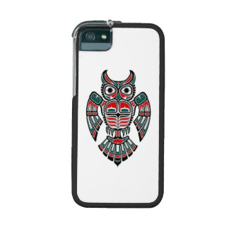 Red Blue and Black Haida Spirit Owl iPhone 5/5S Cover