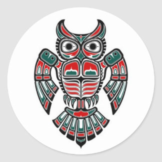 Red Blue and Black Haida Spirit Owl Classic Round Sticker