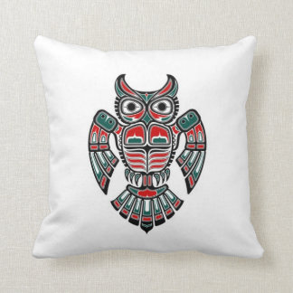 Red Blue and Black Haida Spirit Owl Throw Pillow