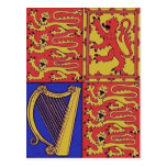Red Blue And Gold Heraldry Postcard