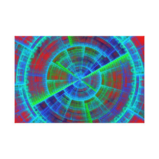 Red Blue and Green Fractal Tech Disc Canvas Print