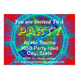 Red Blue and Green Fractal Tech Disc Custom Text Personalized Announcements