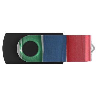 Red, blue and green paint swivel USB 2.0 flash drive