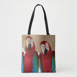 Red Blue and Green Parrots Tote Bag