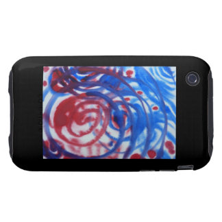 Red Blue and Pale Gray Swirl Pattern On Black Tough iPhone 3 Case