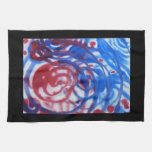 Red, Blue and Pale Gray Swirl Pattern. On Black. Towel
