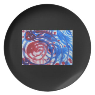 Red, Blue and Pale Gray Swirl Pattern. On Black. Melamine Plate