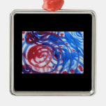 Red, Blue and Pale Gray Swirl Pattern. On Black. Christmas Tree Ornaments