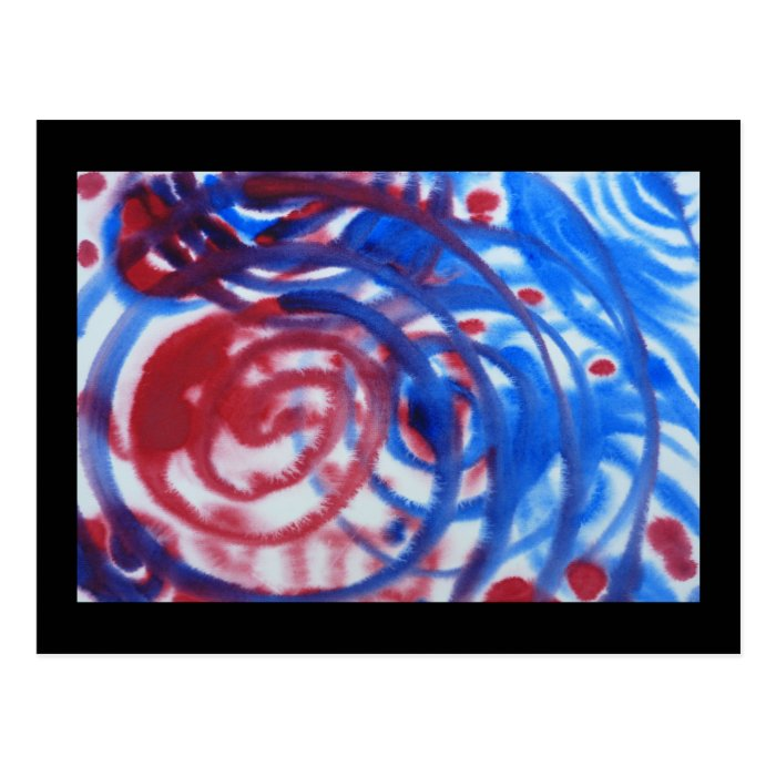 Red, Blue and Pale Gray Swirl Pattern. On Black. Postcard