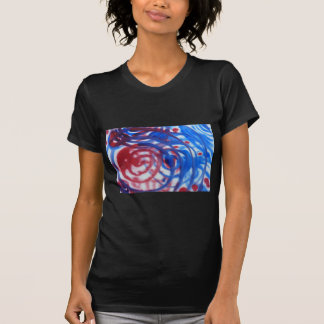 Red, Blue and Pale Gray Swirl Pattern. On Black. T-Shirt