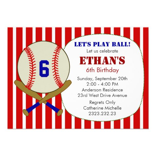 Red, Blue and White Baseball Birthday Party Invite