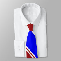 Red Blue and White Diagonally-Striped Tie