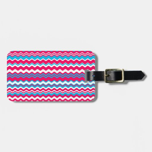 Red  blue and white waves pattern bag tag