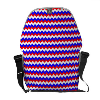 red blue and white zigzag messenger bag